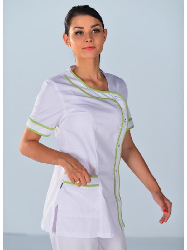 ISACCO Tunique M/édicale Blanche Femme Delhi Motifs Verts